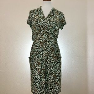 Karen Kane Leapord Print Short Sleeve Dress Size S